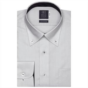 ワイシャツ 長袖 形態安定 ボタンダウン 綿100% グレー×ヘリンボーン織柄 標準体|shirt