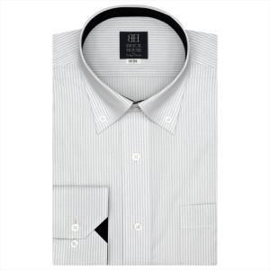ワイシャツ 長袖 形態安定 ドゥエボットーニ ボタンダウン 白×グレーストライプ 標準体|shirt