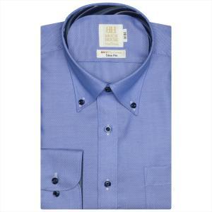 ワイシャツ 長袖 形態安定 ボタンダウン 綿100% ブルー×織柄 スリム|shirt
