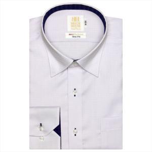 ワイシャツ 長袖 形態安定 ドゥエボットーニ スナップダウン 綿100% パープル×チェック織柄 スリム|shirt