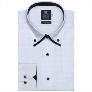ワイシャツ 長袖 形態安定 マイター ドゥエボットーニボタンダウン 綿100% サックス×チェック織柄 標準体 shirt