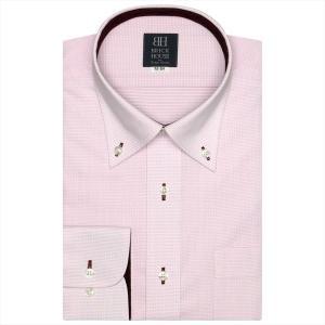 ワイシャツ 長袖 形態安定 ボタンダウン 白×ピンク刺子調柄 標準体|shirt
