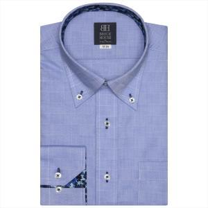 Disney ディズニー / ワイシャツ 長袖 形態安定 ボタンダウン ブルー×市松格子織柄 標準体|shirt