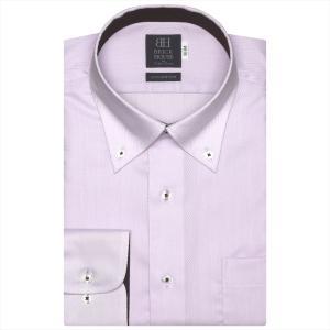 ワイシャツ 長袖 形態安定 ボタンダウン 綿100% パープル×ヘリンボーン織柄 標準体|shirt