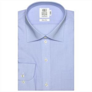 ワイシャツ 長袖 形態安定 ワイド サックス×無地調 スリム|shirt