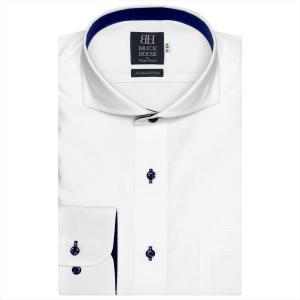 ワイシャツ 長袖 形態安定 ホリゾンタル ワイド 綿100% 白×織柄 標準体 shirt