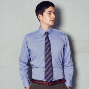 ワイシャツ 長袖 形態安定 ボタンダウン ブルー×小紋織柄 標準体|shirt