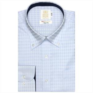 ワイシャツ 長袖 形態安定 ボタンダウン 綿100% サックス×ダイヤチェック織柄 スリム|shirt