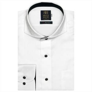 ワイシャツ 長袖 形態安定 ホリゾンタル ワイド 綿100% 白×小紋織柄 標準体|shirt