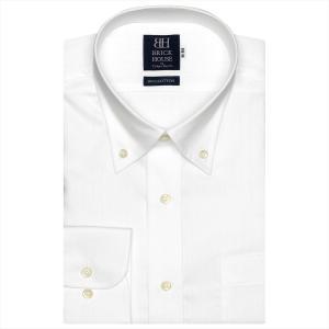 ワイシャツ 長袖 形態安定 ボタンダウン 綿100% 白×ストライプ織柄 標準体|shirt