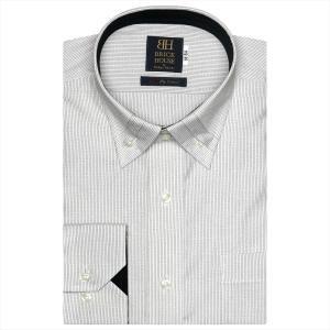 ワイシャツ 長袖 形態安定 プリーツ マイター ドゥエボットーニ ボタンダウン 綿100% 白×黒ストライプ、ダイヤチェック織柄 標準体|shirt