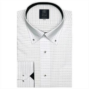 ワイシャツ 長袖 形態安定 ドゥエボットーニ ボタンダウン 白×グレー・黒刺子風柄、チェック織柄 標準体|shirt