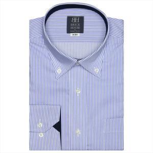 ワイシャツ 長袖 形態安定 ドゥエボットーニ ボタンダウン 白×ブルーストライプ 標準体|shirt