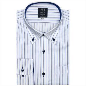 ワイシャツ 長袖 形態安定 ボタンダウン 白×サックス、ネイビーストライプ 標準体|shirt
