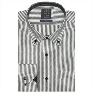 ワイシャツ 長袖 形態安定 マイター ドゥエボットーニ ボタンダウン 綿100% 白×黒ストライプ 標準体|shirt