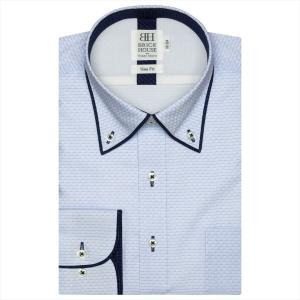 ワイシャツ 長袖 形態安定 フィットインナー パイピング風 ボタンダウン サックス×ブルーボーダーストライプ、市松格子織柄 スリム|shirt