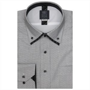 ワイシャツ 長袖 形態安定 フィットインナー ドゥエボットーニ ボタンダウン ダブルカラー 白×ブラック幾何学模様柄 標準体|shirt