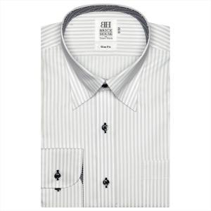 ワイシャツ 長袖 形態安定 スナップダウン 白×グレーストライプ スリム shirt