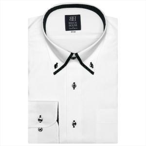ワイシャツ 長袖 形態安定 マイター ボタンダウン 白×ストライプ織柄 標準体|shirt