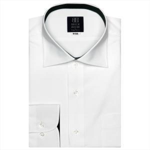 ワイシャツ 長袖 形態安定 ワイド 白×ダイヤチェック織柄 標準体|shirt