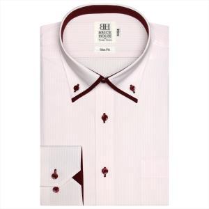 ワイシャツ 長袖 形態安定 マイター ドゥエボットーニ ボタンダウン ピンク×白ストライプ スリム|shirt