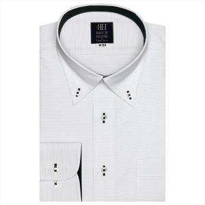 ワイシャツ 長袖 形態安定 ボタンダウン 白×黒ボーダーストライプ 標準体|shirt