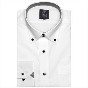 ワイシャツ 長袖 形態安定 ドゥエボットーニ ボタンダウン 白×小紋織柄 標準体|shirt