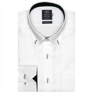 ワイシャツ 長袖 形態安定 ドゥエボットーニ ボタンダウン 綿100% 白×ダイヤチェック織柄 標準体|shirt