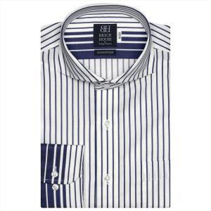 ワイシャツ 長袖 形態安定 ホリゾンタル ワイド 綿100% 白×ネイビーストライプ 標準体|shirt