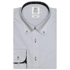 Disney ディズニー / ワイシャツ 長袖 形態安定 ボタンダウン グレー×チェック織柄 スリム|shirt
