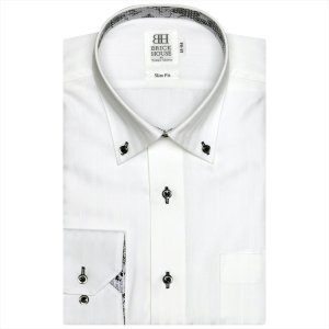 Disney ディズニー / ワイシャツ 長袖 形態安定 ドゥエボットーニ ボタンダウン 白×ストライプ、ミッキーシェイプ、ロゴ織柄 スリム|shirt