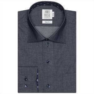 Disney ディズニー / ワイシャツ 長袖 形態安定 ワイド ネイビー×無地調 スリム|shirt