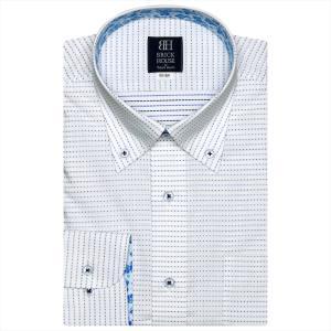Disney ディズニー / ワイシャツ 長袖 形態安定 ボタンダウン 白×ブルー、ネイビー刺子調柄 標準体|shirt