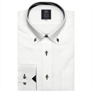 ワイシャツ 長袖 形態安定 ドゥエボットーニ ボタンダウン 白×市松格子織柄 標準体|shirt