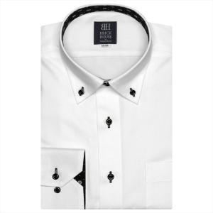 Disney ディズニー / ワイシャツ 長袖 形態安定 ドゥエボットーニ ボタンダウン 白×小紋、ミッキーシェイプ織柄 標準体|shirt