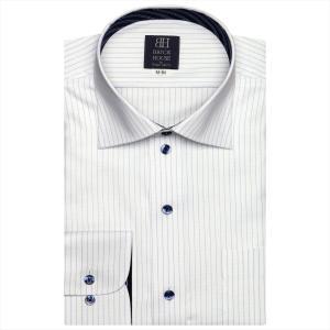 ワイシャツ 長袖 形態安定 ワイド 白×ブルーストライプ 標準体|shirt