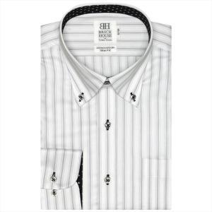 ワイシャツ 長袖 形態安定 ボタンダウン 綿100% 白×グレーストライプ スリム|shirt