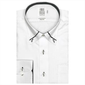 ワイシャツ 長袖 形態安定 パイピング風 マイター ボタンダウン 綿100% 白×チェック織柄 スリム|shirt