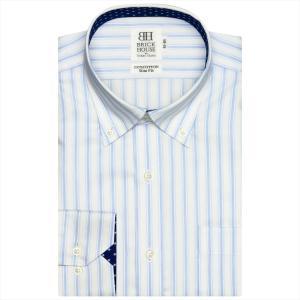 ワイシャツ 長袖 形態安定 ドゥエボットーニ ボタンダウン 綿100% 白×サックスストライプ スリム|shirt
