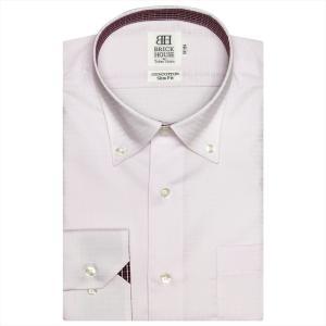 ワイシャツ 長袖 形態安定 ドゥエボットーニ ボタンダウン 綿100% ピンク×チェック、小紋織柄 スリム|shirt