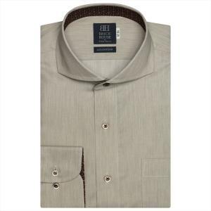 ワイシャツ 長袖 形態安定 ホリゾンタル ワイド 綿100% ブラウン×織柄 標準体|shirt