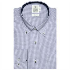 ワイシャツ 長袖 形態安定 ボタンダウン 白×ブルーチェック スリム|shirt