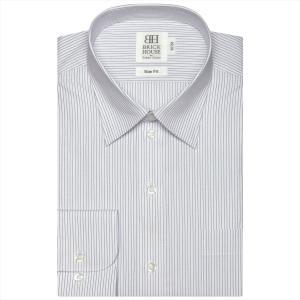 ワイシャツ 長袖 形態安定 レギュラー 白×ブルーストライプ スリム|shirt