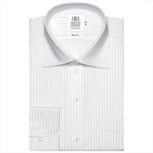 ワイシャツ 長袖 形態安定 ワイド 白×ブルーストライプ スリム|shirt