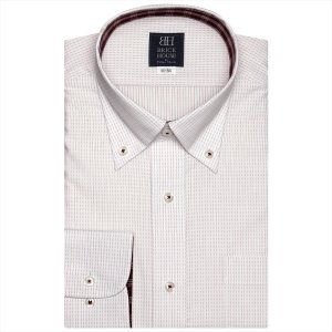 ワイシャツ 長袖 形態安定 ボタンダウン 白×レッド刺子調柄 標準体|shirt