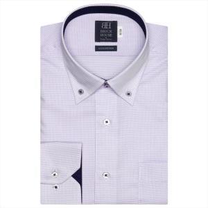 ワイシャツ 長袖 形態安定 ドゥエボットーニ ボタンダウン 綿100% 白×パープルボーダーストライプ、ダイヤチェック織柄 標準体|shirt