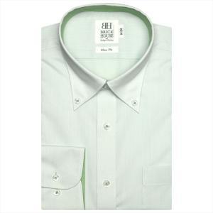 ワイシャツ 長袖 形態安定 ボタンダウン グリーン×斜めストライプ織柄 スリム|shirt