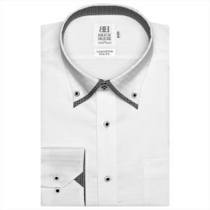 ワイシャツ 長袖 形態安定 マイター ドゥエボットーニ ボタンダウン 綿100% 白×幾何学模様織柄 スリム|shirt