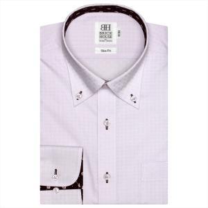 Disney ディズニー / ワイシャツ 長袖 形態安定 ボタンダウン パープル×チェック織柄 スリム|shirt