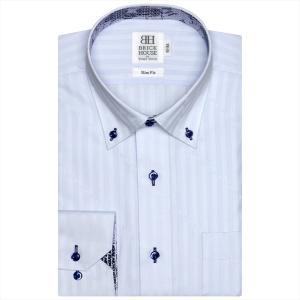 Disney ディズニー / ワイシャツ 長袖 形態安定 ドゥエボットーニ ボタンダウン サックス×ストライプ、ミッキーシェイプ、ロゴ織柄 スリム|shirt
